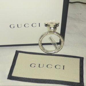 Authentic Gucci sterling silver bull ring size 22G